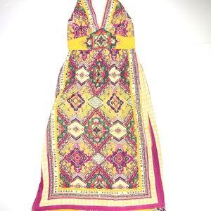 Angie Exotic Mustard Medallion Halter Maxi Dress